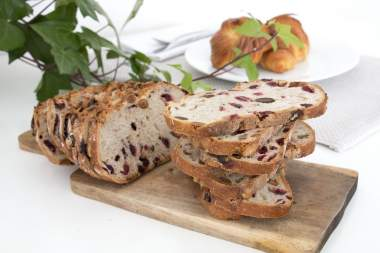 Sliced bread with cranberries and almonds